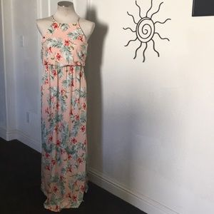 Forever 21 Blush/Green Palm Leaf Print Maxi Dress